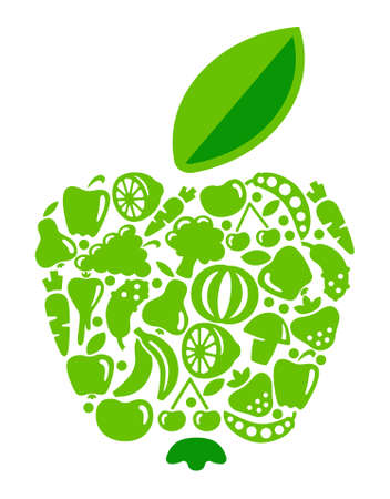 Apple from fruit and vegetables Illustration