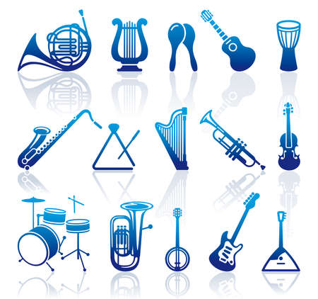 fiddle: Icons of musical instruments Illustration