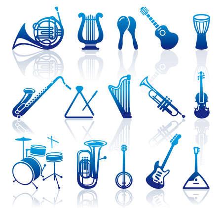 instrumentos musicales: Los iconos de instrumentos musicales Vectores