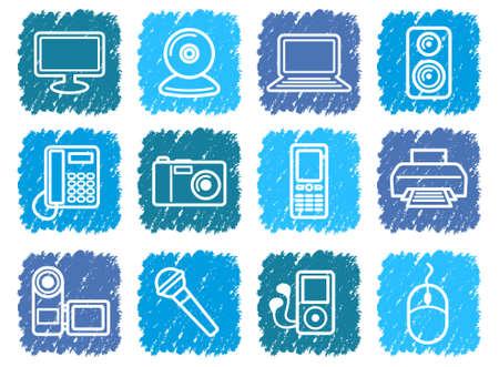 speaker phone: Equipment icons Illustration