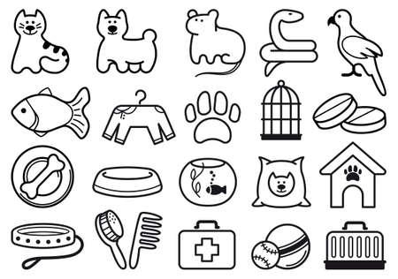 druckerei: Haustiere Pflege Icon Set Illustration