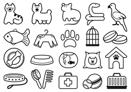 veterinary sign: Pets care icon set