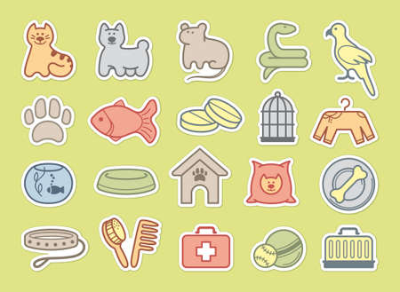 Pets care stickers Vector