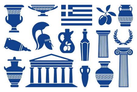 antigua grecia: Símbolos tradicionales de iconos monocromáticos Grecia