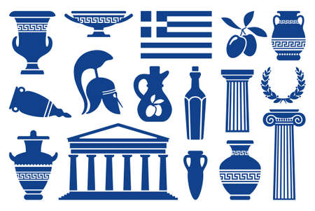 antica grecia: Simboli tradizionali di icone monocromatiche Grecia Vettoriali