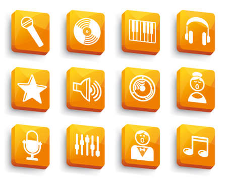 Audio and Music icons on buttons Stock Vector - 13793856