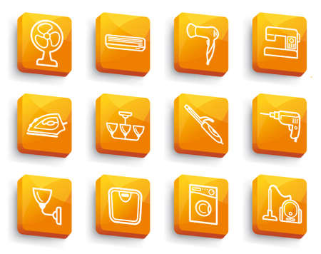 Icons of home appliances for the house on buttons Vector