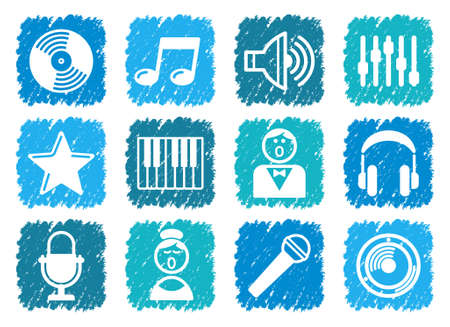 Audio and Music icons Stock Vector - 13991661