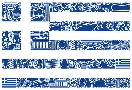 rama de olivo: Bandera de Grecia de sus símbolos tradicionales