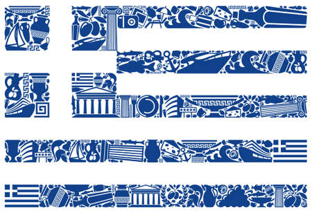 Flag of Greece from its traditional symbols Vector