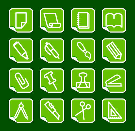 Stationery and office icons on stickers Vector