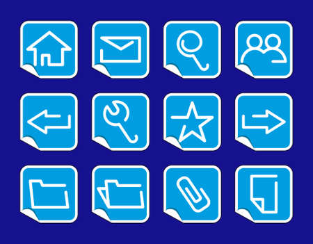 Base computer icons on stickers Vector