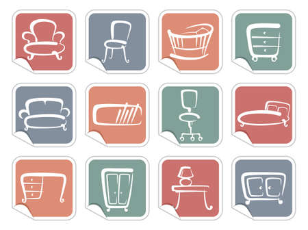 Stickers with furniture images Vector