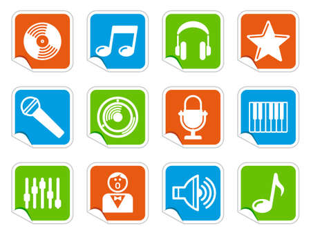 Audio and Music icons on stickers Vector