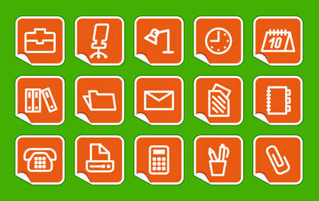 Office and business icons on stickers Vector