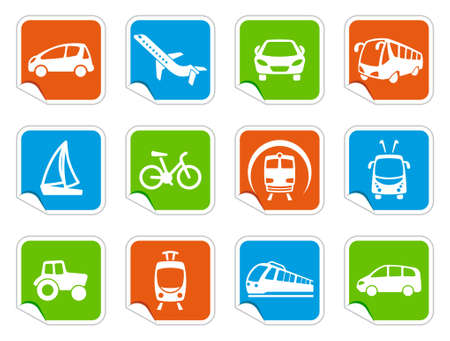 Transport icons on stickers Vector