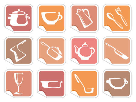 Stickers with ware images Vector
