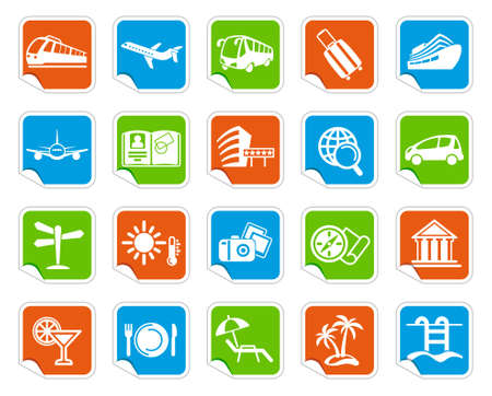 Travel icons on stickers Illustration