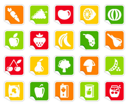 healthful: Vegetables and fruit icons on stickers