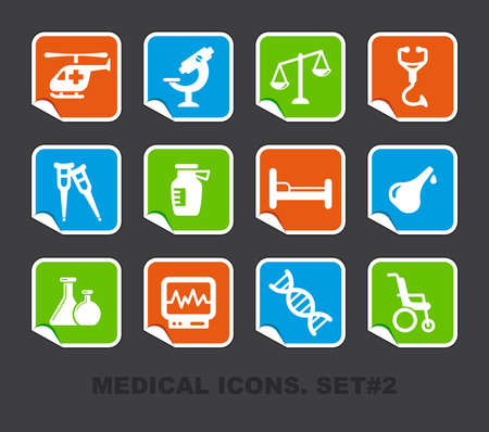 pharma: Pharma and Healthcare icons on stickers