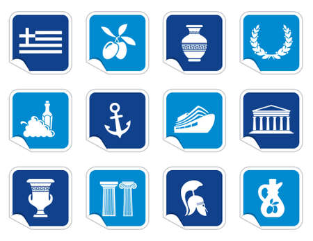 greek columns: Greece icons on stickers Illustration