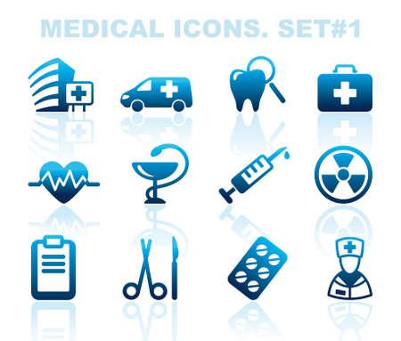 equipos medicos: Farmacia y Salud iconos Vectores