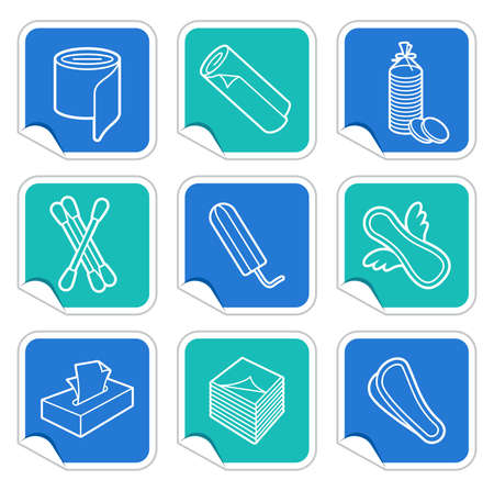 tampon: Products from a paper and cotton wool on stickers Illustration