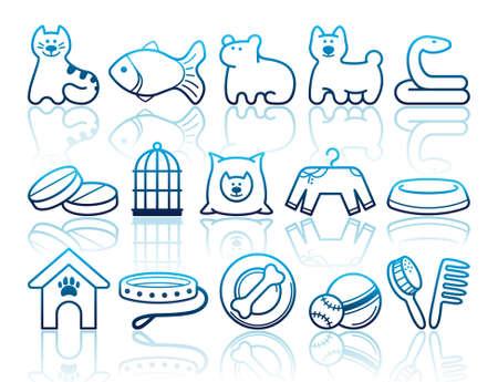 vogelspuren: Haustiere Pflege icon set