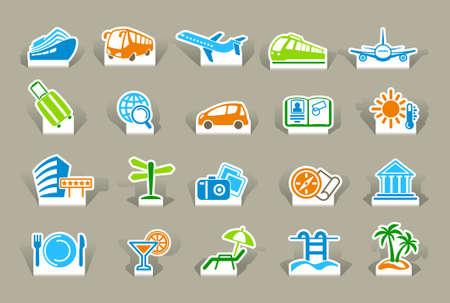 tourismus icon: Travel icons auf Aufklebern