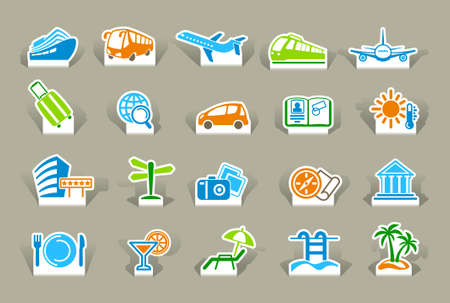 symbol tourism: Travel icons on stickers Illustration