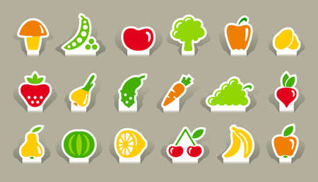 grapes and mushrooms: Vegetables and fruit icons on stickers