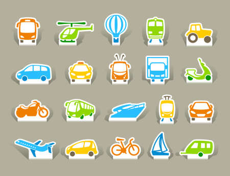 transport icons: Transportation Icons on stickers Illustration