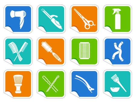 rulos: S Peluquer�a accesorios en pegatinas Vectores