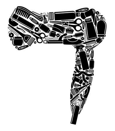 secador de pelo: Peluquería s símbolos en la forma del secador de pelo