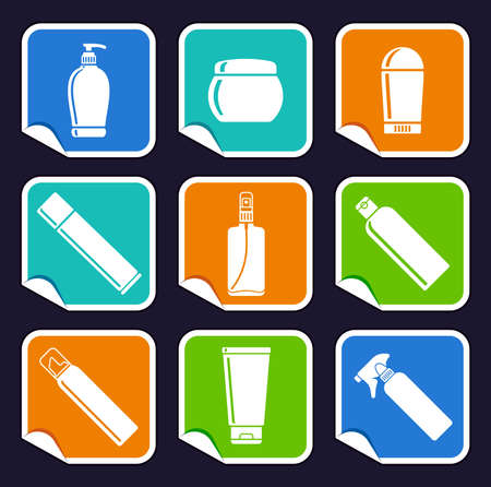 Bottles of cosmetic products on stickers Stock Vector - 15936147
