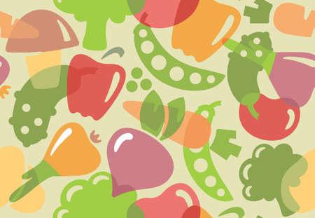 pepino caricatura: Fondo inconsútil de las verduras Vectores