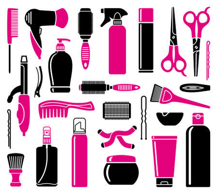 Set Of Hairdressing Accessories and means for care of hair Vector