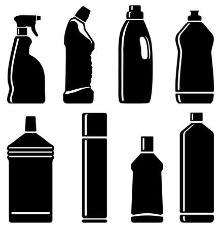detergent: Silhouettes of bottles with means for cleaning