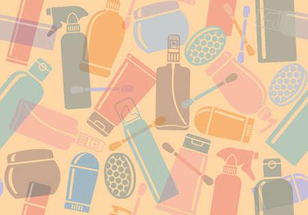 jabon liquido: Fondo inconsútil con las botellas de los productos cosméticos Vectores