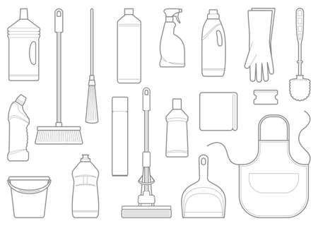 domestic chore: Outlines of cleaning equipment