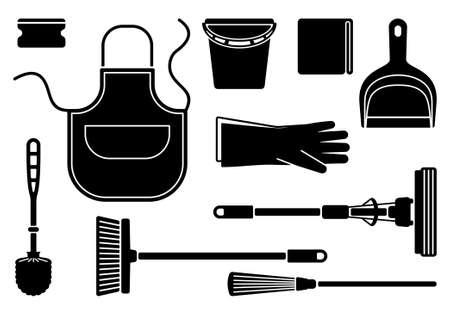 chores: silhouetten van de apparatuur voor het reinigen van Stock Illustratie