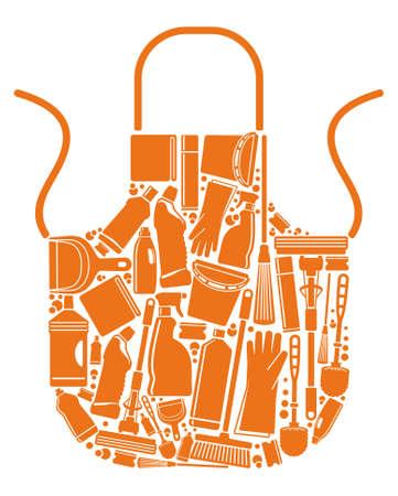 sanificazione: Grembiule con sagome delle attrezzature per la pulizia