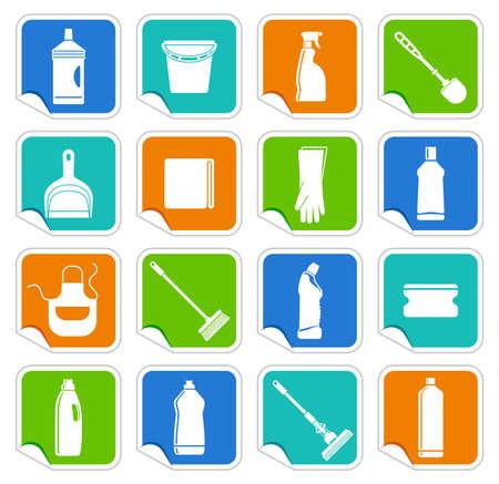 sanificazione: Adesivi con le attrezzature per la pulizia