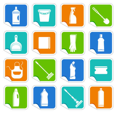 Stickers with the equipment for cleaning Vector