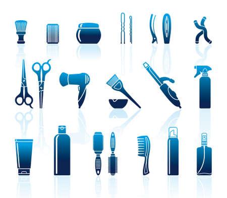 hairspray: Juego de accesorios de peluquer�a Vectores