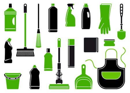 sanificazione: Icone di accessori e mezzi per la pulizia Vettoriali