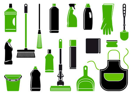 Icons of accessories and means for cleaning Stock Vector - 16456982