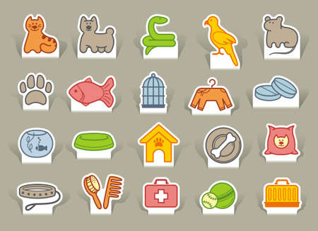 Icons on a veterinary science and care theme house pupils Vector