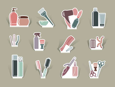 hairpin: Hairdresser s accessories on cut out icons Illustration