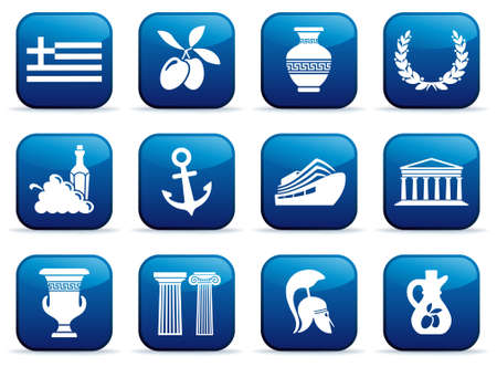 Symbols of Greece on buttons Stock Vector - 17940535